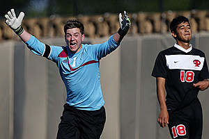 Palestine keeper Bennett Gierkey starts the celebration after Progeso missed its penalty kick attempt at the top of the fifth round. That miss ended the state championship contest. (Stphen Spillman, ETSN.fm)