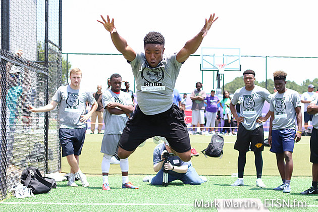 Nacogdoches' Josh Thompson tests his broad jump during Sunday's ETSN.fm + APEC Football Recruiting Combine in Tyler.