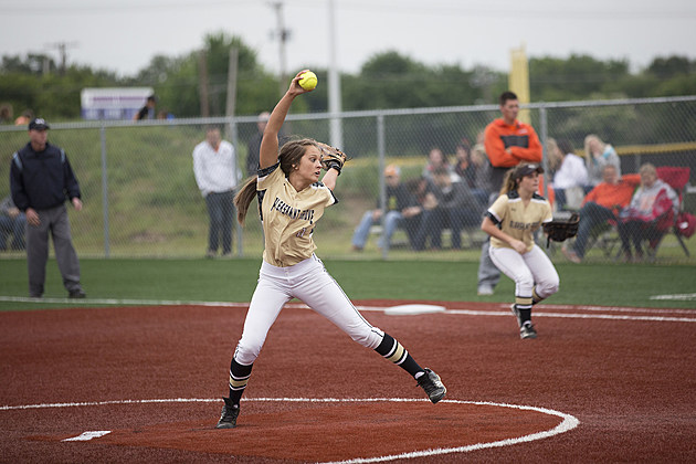 Pleasant Grove pitcher Madison Haltom fires in a strike against Celina during their regional semifinal playoff on May 19. (Evan Lewis, ETSN.fm)