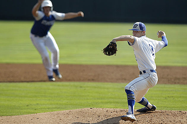 Beckville's Ethan Harris pitches against Stamford during the UIL Class 2A state Baseball semifinal in Round Rock on June 8, 2016. (Stephen Spillman, ETSN.fm)