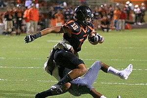 Gladewater safety Austin Hawley (15) recovers a fumble in the Bears' win against Atlanta on Oct. 21. (Jim Frake, ETSN.fm)