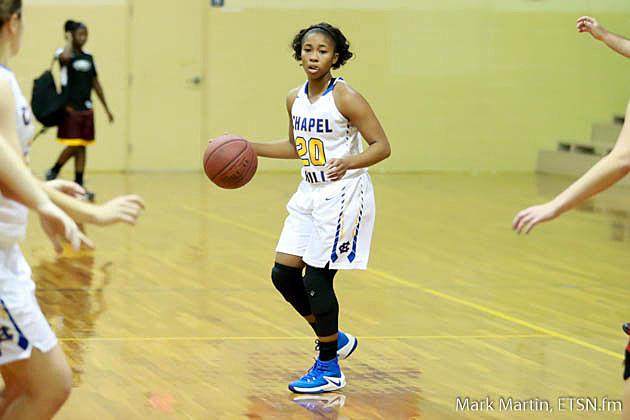 Chapel Hill Mykaela Alfred looks for a open teammate.