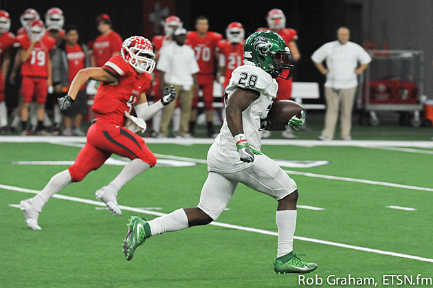 Kennedale running back D.J. Kirvin breaks a 58-yard run on the first play of the second half. It turned the tide on Van in a 34-28 loss in Frisco.