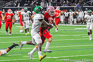 Isaiah Allred runs through Kennedale's Baron Browning, an Ohio State commitment, as he finished a 22-yard post pattern for a touchdown.