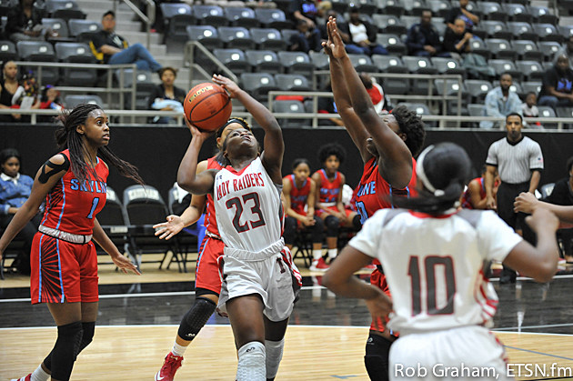 Lee's Ke'Aja Lacy tried to work around a block attempt by Skyline's Heaven Hawkins. Hawkins recorded two blocks in the game.