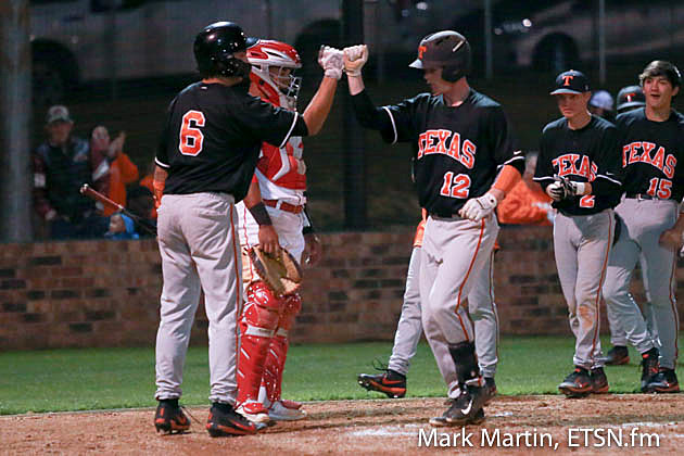 Texas High Pitcher Colby Adkins hits a 2-run homer to left field.