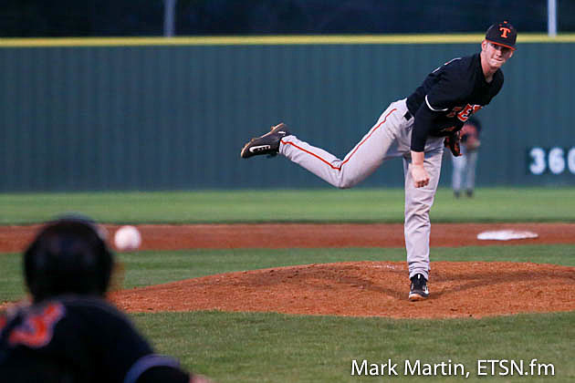 Texas High pitcher Colby Adkins delivers a pitch.