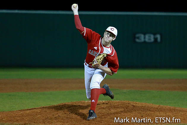 Carthage pitcher Callahan Baldree winds up for a pitch.