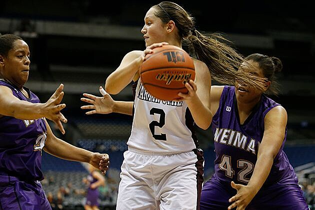 Martin's Mill guard Briley Moon fights off a trap from Weimar guard Kamie Klesel (30) and Summer Almeida (42) in the Lady Mustangs' 58-50 semifinal win on March 3 at the Alamodome. (Stephen Spillman, ETSN.fm)