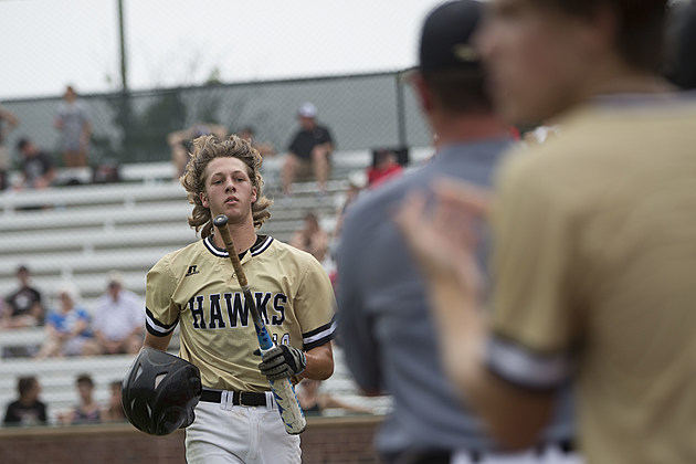 Pleasant Grove's Caleb Bolden heads back to the dugout after scoring a run during the Hawks' 8-0 win over Argyle in Game 2 of their Class 4A Region II semifinal series May 27 in Tyler. (ETSN.fm)