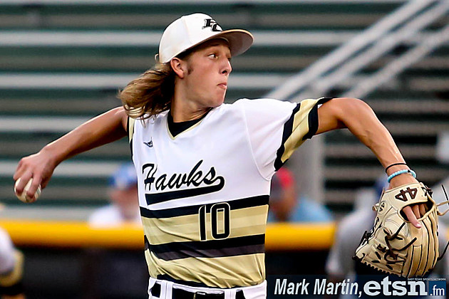 Pleasant Grove pitcher Caleb Bolden delivers during the Hawks' 10-2 win over Decatur in Game 1 of their Class 4A regional championship series on May 31 in Tyler.