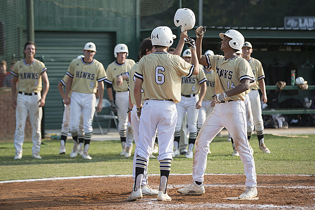 Pleasant Grove's Tyler Jeans celebrates a two-run homer for a 9-0 lead against Canton in the bottom of the sixth of Thursday's series-opening game in Texarkana. (ETSN.fm)