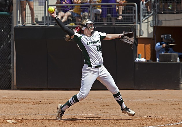 Harleton pitcher Randi Carol Phillips, a Texas A&M signee, reached the state tournament level of competition three times in her four-year career. (Thao Nguyen, ETSN.fm)